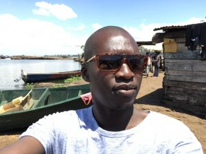 On location in Uganda with producer Derrick Kibisi of Talking Film Production