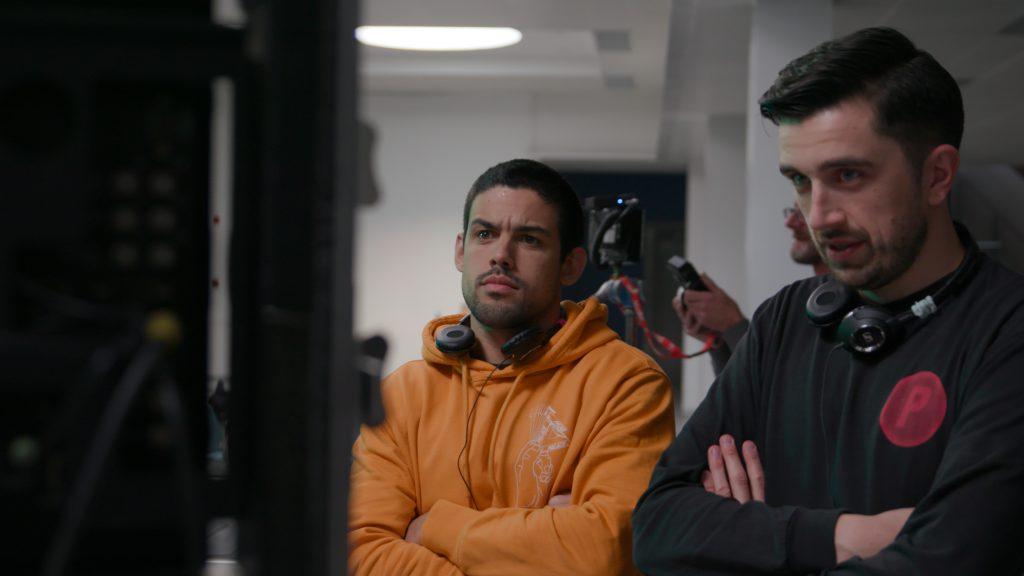 Kieran and Eric on set