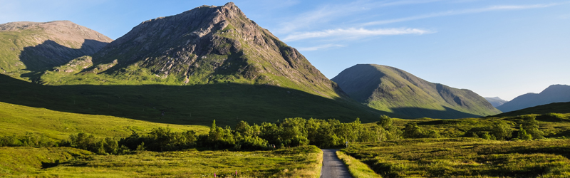 Beautiful evening scenery at Glen Coe in the Scottish Highlands.