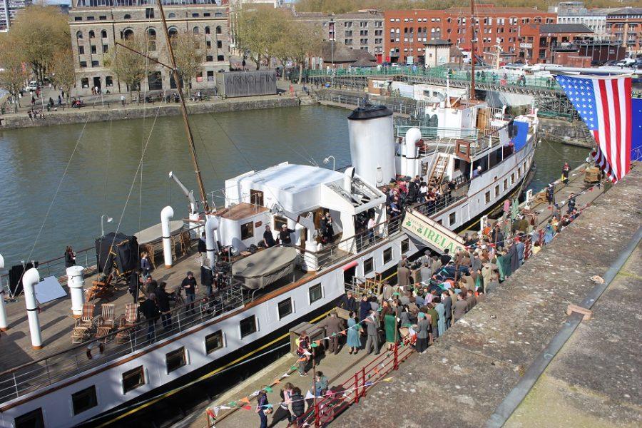 Stan & Ollie crowd scenes filming on Princes Wharf, Bristol (credit Bristol Film Office