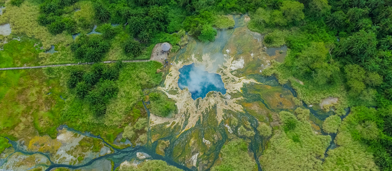 Aerial view of The Sempaya Hot Springs
