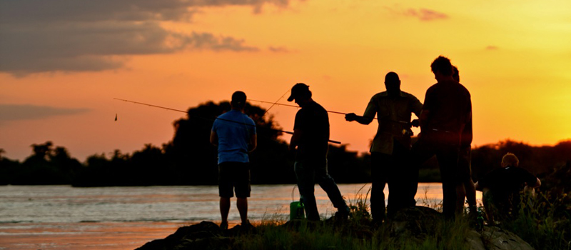 Fishing at sunset on the River Nile